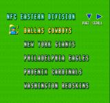 Super Play Action Football SNES Some of the pro teams in the game