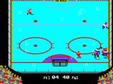 Championship Hockey SEGA Master System A bit of chaos on the hockey rink with one of my players hitting the deck.