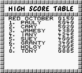 The Hunt for Red October Game Boy High Score Table...