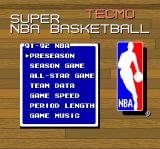 Tecmo Super NBA Basketball SNES Main menu