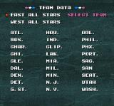 Tecmo Super NBA Basketball SNES List of teams
