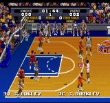 Tecmo Super NBA Basketball SNES The scoreboard in the background