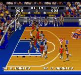 Tecmo Super NBA Basketball SNES Dribbling the ball.