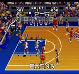 Tecmo Super NBA Basketball SNES After a basket, the game displays the score.