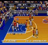 Tecmo Super NBA Basketball SNES The clock in the corner is counting down.