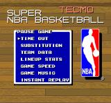 Tecmo Super NBA Basketball SNES Your options during a basketball game in progress.