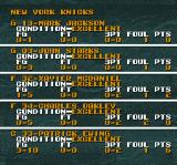 Tecmo Super NBA Basketball SNES Individual players game stats