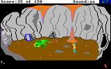 King's Quest Amiga A fire breathing dragon guards the mirror.