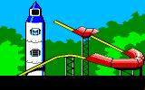 Donald Duck's Playground Amiga At the top of the rocket ship. The slide piece hasn't been bought yet, so you can't slide down.
