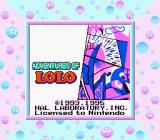 Adventures of Lolo  Game Boy Title Screen (Super Game Boy) (UK)