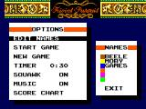 Trivial Pursuit SEGA Master System Options screen with all the game settings