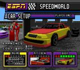 ESPN Speed World SNES The season's car setup screen