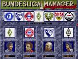 Bundesliga Manager Professional DOS Assigning teams to managers (German version).