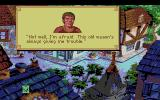 King's Quest V: Absence Makes the Heart Go Yonder! Amiga Talking to a man with a broken wagon.