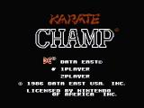 Karate Champ NES Title screen