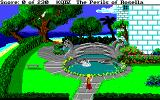 King's Quest IV: The Perils of Rosella Amiga A swam swims in a pool in the garden of Genesta's palace.