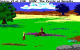 King's Quest IV: The Perils of Rosella Amiga A musician sits on a log and plays a tune.