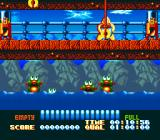 The Super Aquatic Games SNES Feed the fishes in the feeding time event