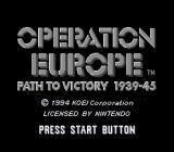 Operation Europe: Path to Victory 1939-45 SNES Title screen