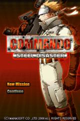 Commando: Steel Disaster Nintendo DS Title screen. The front end of the game is as no-frills as they get.