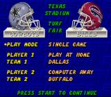 ESPN Sunday Night NFL SNES Main menu