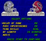 ESPN Sunday Night NFL SNES Game options