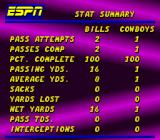 ESPN Sunday Night NFL SNES Game stats