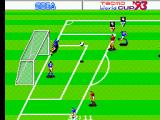 Tecmo World Cup '93 SEGA Master System My goal keeper is not letting another goal though as he reflects the ball.