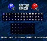 Madden NFL '94 SNES Password screen