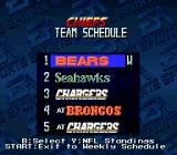 Madden NFL '94 SNES Team schedule