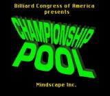 Championship Pool SNES Title Screen