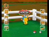 My Pokémon Ranch Wii Piplup getting some unwanted attention from pikachu.