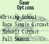 Nigel Mansell's World Championship Racing Game Boy The race options. Driving school has you alone on the track.