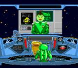 Math Blaster: Episode One - In Search of Spot SNES Math Blaster gets his mission from the Galactic Commander.