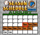Roger Clemens' MVP Baseball Genesis The Regular Season Schedule calendar showing all the upcoming games in Regular Season mode.