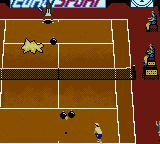 All Star Tennis 2000 Game Boy Color ... explode! Notice that where the ball struck the ground a new bomb has appeared.