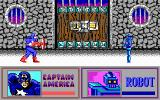 The Amazing Spider-Man and Captain America in Dr. Doom's Revenge! DOS Captain America takes on a robot that transforms into a box. (EGA)