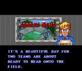 Mega Man Soccer SNES Before a game starts in the Capcom Championship mode.