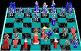 Battle Chess DOS Knight ricochets the Queen's attack and takes her. (EGA)