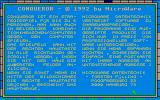 Conqueror Atari ST Info screen