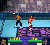 ECW Hardcore Revolution Game Boy Color Sabu attacks Storm from behind with a barstool.