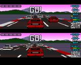 Lotus Esprit Turbo Challenge Amiga Two player race starting.