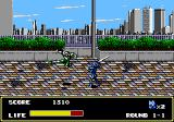 Mazin Saga: Mutant Fighter Genesis Enemy performing a jump kick.