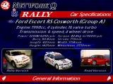 Network Q RAC Rally Championship DOS Car specifications