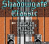 Shadowgate Classic Game Boy Color Title screen and select language