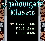 Shadowgate Classic Game Boy Color Choose game to start.