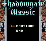 Shadowgate Classic Game Boy Color Continue or end?