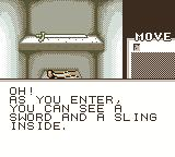 Shadowgate Classic Game Boy Color I found a sling and a sword.