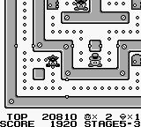Lock n' Chase Game Boy Stage 5-3, a wall divides centre and outer ring