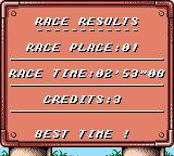 V-Rally: Championship Edition Game Boy Color Results of race 2. I came in first.